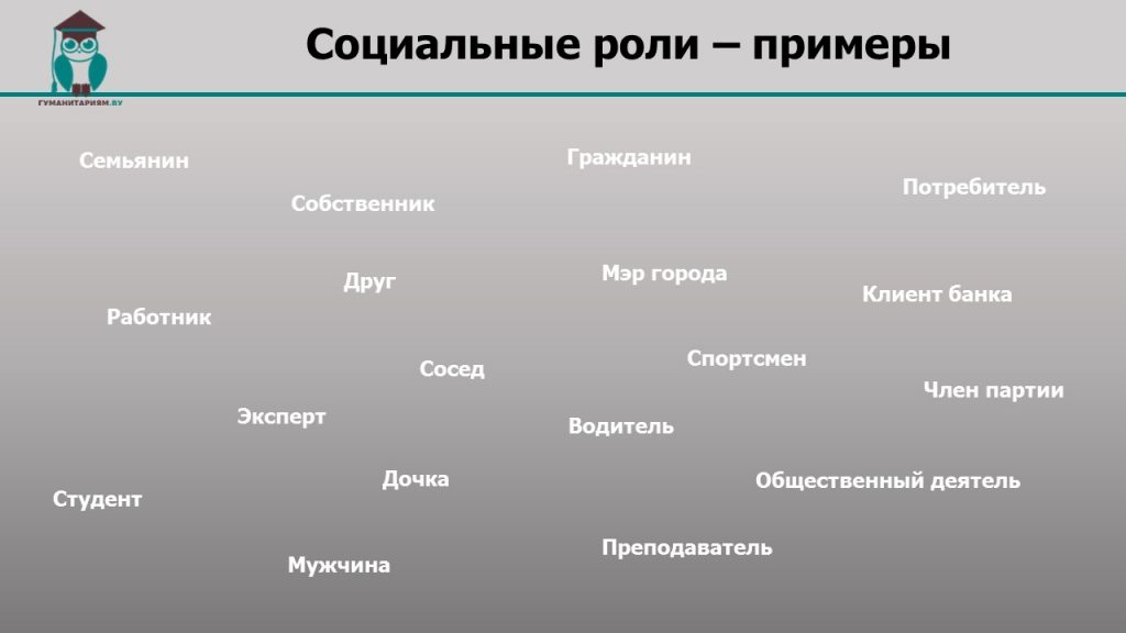 Социальные роли примеры